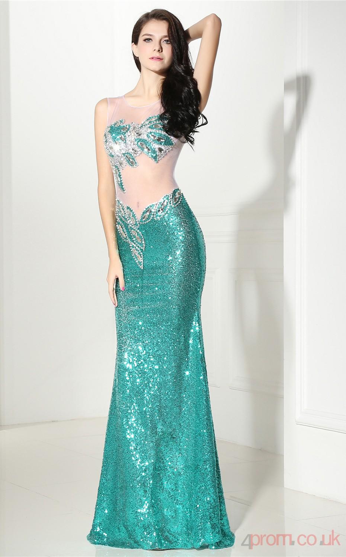 Turquoise Tulle Sequined Trumpet/Mermaid Illusion Scoop Sleeveless ...