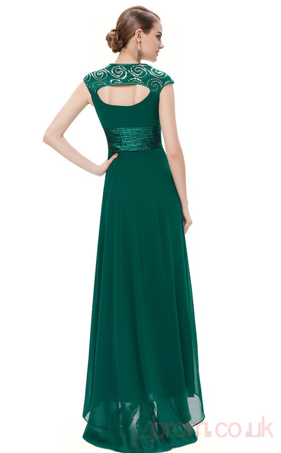 V-Neck Long Dark Green Dress