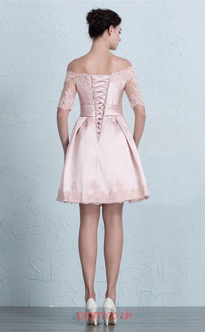 Blushing Pink Satin Lace A-line Off The Shoulder Short Sleeve Short ...