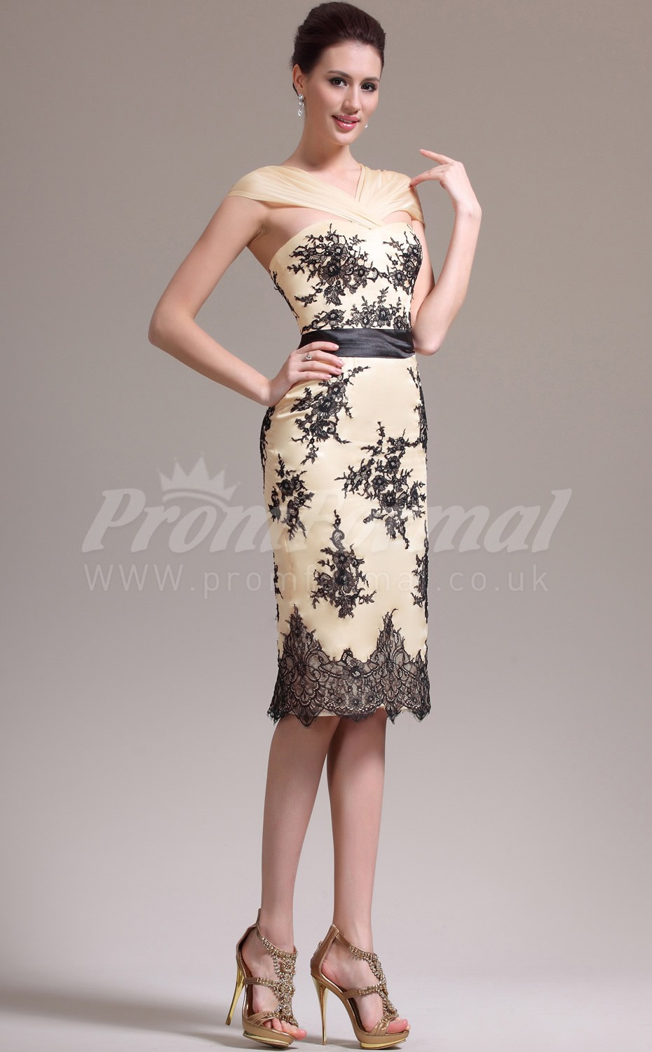 Pearl Pink Lace,Chiffon Sheath Sweetheart Knee-length Cocktail ...