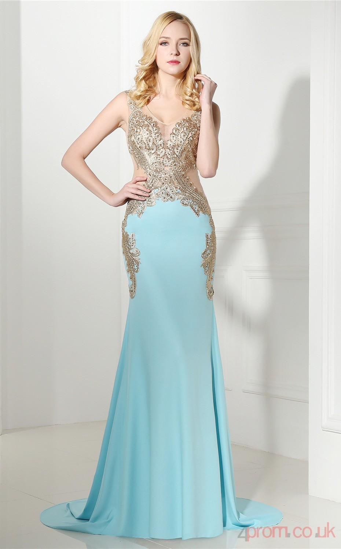 Light Sky Blue Taffeta Trumpet/Mermaid V-neck Sleeveless Prom ...