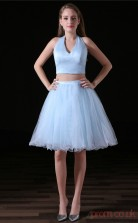 Two Piece A-line Halter Sleeveless Sky Blue Tulle Satin Prom Dresses(JT-4A003)