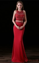 Two Piece Mermaid Jewel Sleeveless Burgundy Lace Stretch Satin Prom Dresses(JT-4A006)