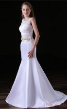 Two Piece Mermaid Jewel Sleeveless White Lace Satin Prom Dresses(JT-4A007)