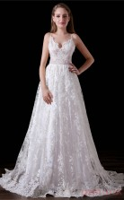 A-line V-neck Sleeveless Ivory Lace Tulle Satin Prom Dresses(JT-4A016)