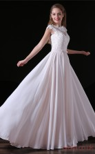 A-line Scalloped Short Sleeve Beige Tulle Satin Prom Dresses(JT-4A018)