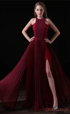 A-line Halter Sleeveless Dark Burgundy Lace Satin Prom Dresses(JT-4A019)