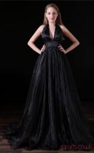 A-line V-neck Sleeveless Black Spandex Tulle Prom Dresses(JT-4A021)