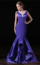 Mermaid Illusion Short Sleeve Purple Tulle Satin Prom Dresses(JT-4A025)