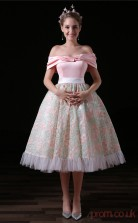 Ball Gown Off The Shoulder Short Sleeve Blushing Pink Lace Tulle Satin Prom Dresses(JT-4A026)