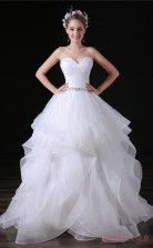 Princess Sweetheart Sleeveless White Lace Satin Prom Dresses(JT-4A029)