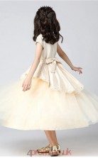 Princess Jewel Short Sleeve Pearl Pink Satin Tulle Tea-length Children's Prom Dress(AHC014)