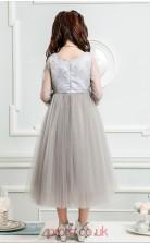 Princess Jewel Half Sleeve Candy Pink Tulle Tea-length Children's Prom Dress(AHC023)