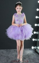 Ball Gown Jewel Sleeveless Lilac Tulle Mini Children's Prom Dress(AHC036)