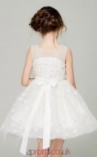 A-line Illusion Sleeveless Ivory Organza Mini Children's Prom Dress(AHC047)