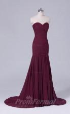 Trumpet/Mermaid Dark Burgundy Satin Chiffon Floor-length Prom Dress(PRBD04-S507)