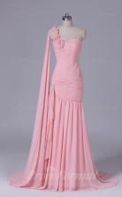 Trumpet/Mermaid Pink Chiffon Floor-length Prom Dress(PRBD04-S545)
