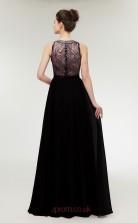 A-line Black Lace 30D Chiffon Bateau Neck Long Prom Dresses XH-C0002B