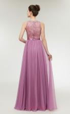 A-line Lilac Lace 30D Chiffon Bateau Neck Long Prom Dresses XH-C0002L