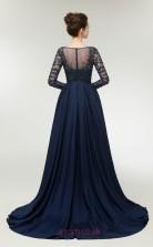 A-line Navy Blue Taffeta Bateau Neck Long Sleeve Long Prom Dresses XH-C0005