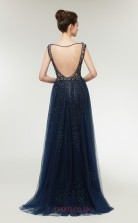 Mermaid Navy Blue Tulle V-neck Long Prom Dresses XH-C0007