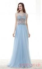 Light Blue Velvet Chiffon A-line Illusion Bateau Sleeveless Prom Dresses(JT4-CZM173)