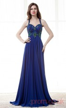 Royal Blue Chiffion Sequined A-line Halter Sweetheart Sleeveless Prom Dresses(JT4-CZM178)