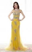 Yellow Tulle Trumpet/Mermaid Illusion Scoop Short Sleeve Prom Dresses(JT4-CZM181)