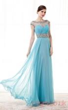 Light Sky Blue Chiffon Tulle Sequined A-line Illusion Bateau Short Sleeve Prom Dresses(JT4-CZM183)
