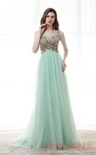 Light Blue Tulle A-line Scoop Short Sleeve Prom Dresses(JT4-CZM188)