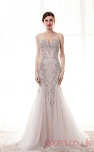Gray Lace Tulle Sequined Trumpet/Mermaid Straps Sweetheart Sleeveless Prom Dresses(JT4-CZM190)