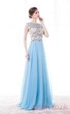 Dodger Blue Tulle Sequined A-line Jewel Short Sleeve Prom Dresses(JT4-CZM192)
