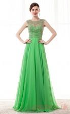 Green Chiffon A-line Illusion Jewel Sleeveless Prom Dresses(JT4-CZM197)