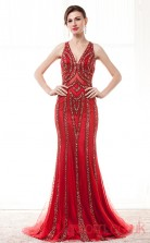 Light Burgundy Tulle Sequined Trumpet/Mermaid V-neck Halter Sleeveless Prom Dresses(JT4-CZM206)