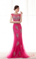 Fuchsia Tulle Trumpet/Mermaid Illusion Scoop Short Sleeve Prom Dresses(JT4-CZM210)