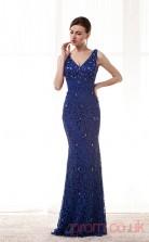 Royal Blue Lace Trumpet/Mermaid V-neck Sleeveless Prom Dresses(JT4-CZM217)