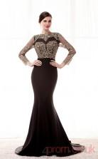 Black Satin Chiffon Trumpet/Mermaid Jewel 3/4 Length Sleeve Prom Dresses(JT4-CZM220)