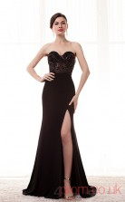 Black Lace Chiffon Trumpet/Mermaid Sweetheart Sleeveless Prom Dresses(JT4-CZM222)