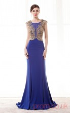 Purple Satin Chiffon Trumpet/Mermaid Jewel Short Sleeve Prom Dresses(JT4-CZM224)