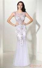 White Tulle Trumpet/Mermaid V-neck Sleeveless Prom Dresses(JT4-CZMC105)