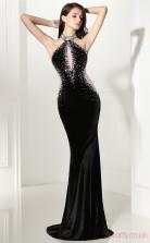 Black Velvet Tulle Trumpet/Mermaid Halter Sleeveless Prom Dresses(JT4-CZMC113)