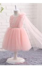 Pink Tulle A Line Jewel Knee Length Kid's Prom Dresses(FG09815)