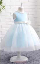 Sky Blue Tulle Princess Jewel Tea Length Kid's Prom Dresses(FG12802)