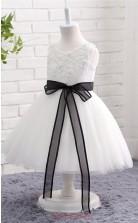 White Princess Jewel Tea Length Kid's Prom Dresses(FG12808)