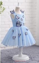 Sky Blue Tulle Princess Jewel Tea Length Kid's Prom Dresses(FG13801)