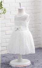 Ivory Lace A Line Jewel Tea Length Kid's Prom Dresses(FG14807)