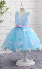 Light Blue Embossing Ball Gown V-neck Tea Length Kid's Prom Dresses(FG15803)