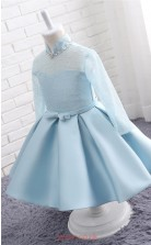 Sky Blue Satin Princess High Neck Long Sleeve Tea Length Kid's Prom Dresses(FG15816)