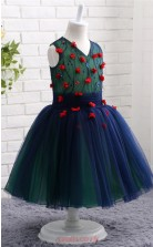 Navy Blue Princess V-neck Floor-length Kid's Prom Dresses(FG16811)