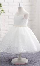 White Lace Princess Jewel Tea Length Kid's Prom Dresses(FG18809)